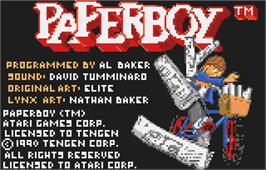 Title screen of Paperboy on the Atari Lynx.