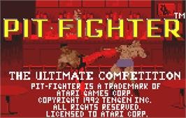 Title screen of Pit-Fighter on the Atari Lynx.