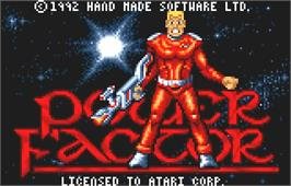 Title screen of Power Factor on the Atari Lynx.