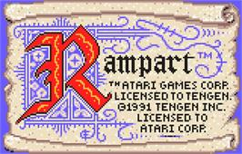 Title screen of Rampart on the Atari Lynx.