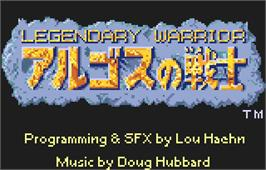 Title screen of Rygar on the Atari Lynx.