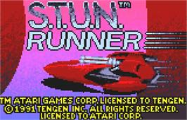 Title screen of S.T.U.N. Runner on the Atari Lynx.