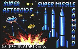 Title screen of Super Asteroids and Missile Command on the Atari Lynx.