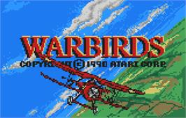 Title screen of Warbirds on the Atari Lynx.