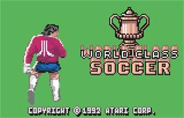 Title screen of World Class Soccer on the Atari Lynx.