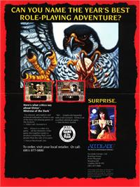 Advert for Elvira: Mistress of the Dark on the Commodore Amiga.