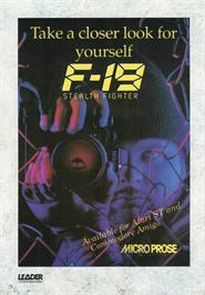 Advert for F-19 Stealth Fighter on the Atari ST.
