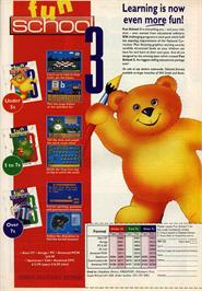 Advert for Fun School 3: for 5 to 7 Year Olds on the Commodore Amiga.