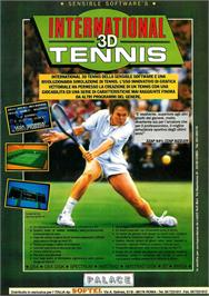 Advert for International 3D Tennis on the Commodore Amiga.
