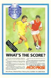 Advert for Microprose Pro Soccer on the Commodore 64.
