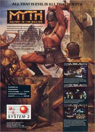 Advert for Myth on the Commodore Amiga.