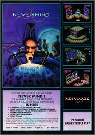 Advert for Never Mind on the Commodore Amiga.