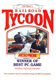 Advert for Sid Meier's Railroad Tycoon on the Commodore Amiga.
