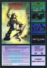 Advert for Stryx on the Commodore Amiga.
