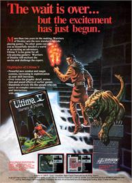 Advert for Ultima V: Warriors of Destiny on the Apple II.