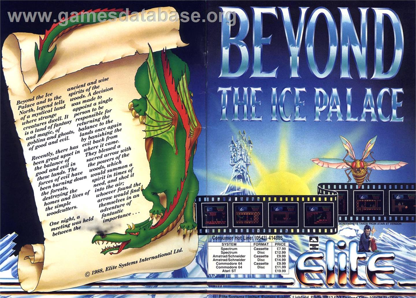 Advert for Beyond the Ice Palace on the Commodore Amiga.