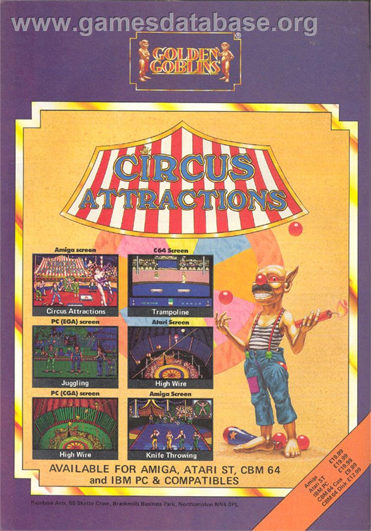 Advert for Circus Attractions on the Commodore Amiga Demos.