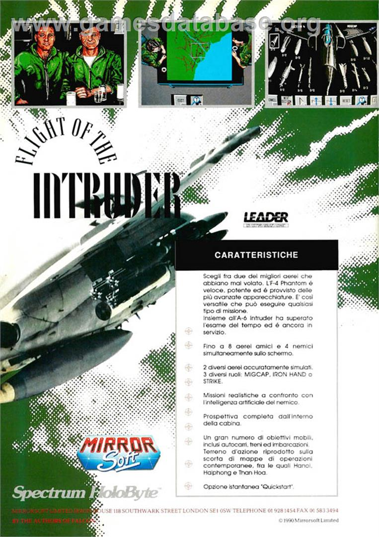 Advert for Flight of the Intruder on the Commodore Amiga.