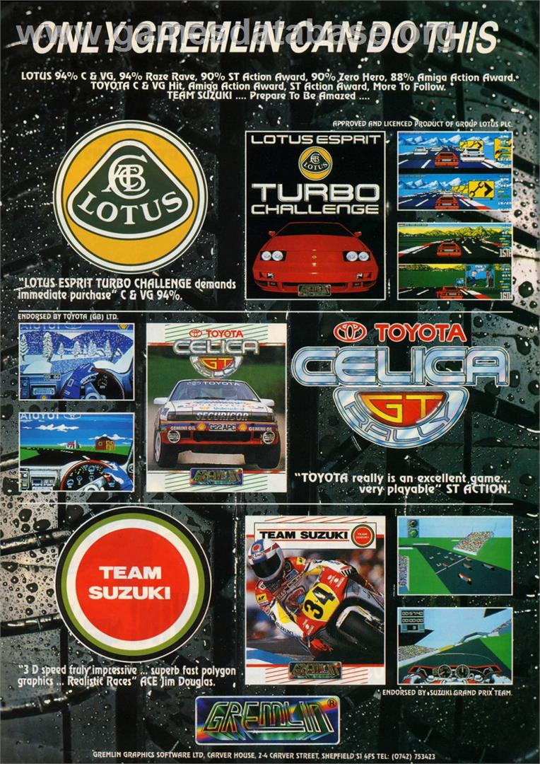 Lotus Esprit Turbo Challenge - Commodore Amiga - Artwork - Advert