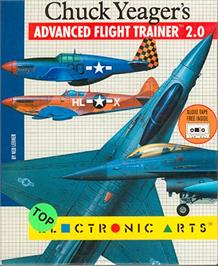 Box cover for Chuck Yeager's Advanced Flight Trainer 2.0 on the Atari ST.