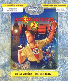 Box cover for Rick Dangerous 2 on the Atari ST.