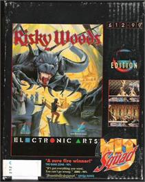 Box cover for Risky Woods on the Atari ST.