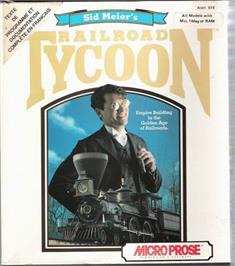Box cover for Sid Meier's Railroad Tycoon on the Atari ST.