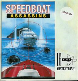 Box cover for Speedboat Assassins on the Atari ST.