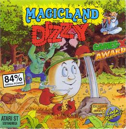 Box cover for Spellbound Dizzy on the Atari ST.