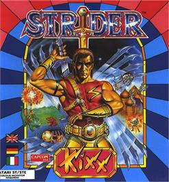 Box cover for Strider on the Atari ST.