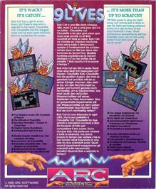Box back cover for 9 Lives on the Atari ST.