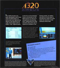 Box back cover for A320 Airbus on the Atari ST.