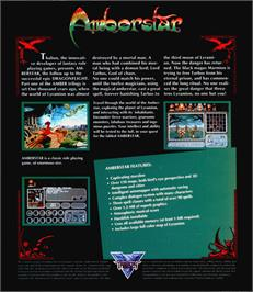 Box back cover for Amberstar on the Atari ST.