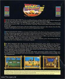 Box back cover for Back to the Future 3 on the Atari ST.
