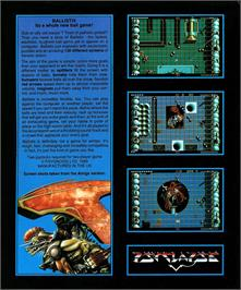 Box back cover for Ballistix on the Atari ST.