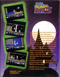 Box back cover for Blinky's Scary School on the Atari ST.