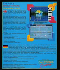 Box back cover for Blockout on the Atari ST.