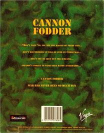 Box back cover for Cannon Fodder on the Atari ST.