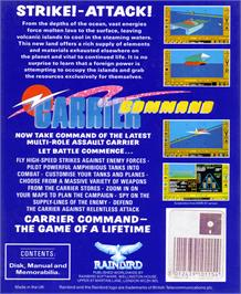 Box back cover for Carrier Command on the Atari ST.