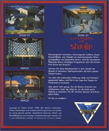 Box back cover for Chambers of Shaolin on the Atari ST.