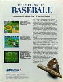Box back cover for Championship Baseball on the Atari ST.