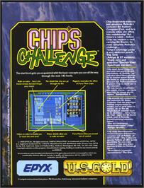 Box back cover for Chip's Challenge on the Atari ST.