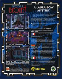 Box back cover for Colonel's Bequest on the Atari ST.