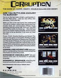 Box back cover for Corruption on the Atari ST.