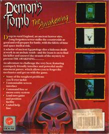 Box back cover for Demon's Tomb: The Awakening on the Atari ST.