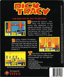 Box back cover for Dick Tracy on the Atari ST.