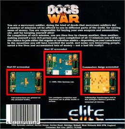 Box back cover for Dogs of War on the Atari ST.