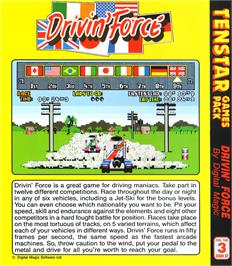 Box back cover for Driving Force on the Atari ST.