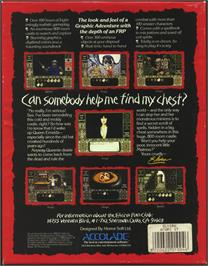 Box back cover for Elvira: Mistress of the Dark on the Atari ST.