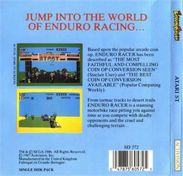 Box back cover for Enduro Racer on the Atari ST.